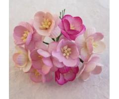 Paberlilled mooruspuu paberist (mulberry) - kirsiõied 25mm 50 tk, pink