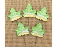Lehed mooruspuu paberist (mulberry) - 45mm 10 tk, valge/roheline