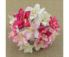Paberlilled mooruspuu paberist (mulberry) - liiliad 50 tk, roosad toonid