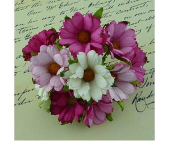 Paberlilled mooruspuu paberist (mulberry) - krüsanteemid 5 tk, roosa