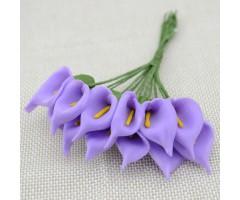 Kunstlilled vahtkummist - kallad 25mm, 12 tk, lilac