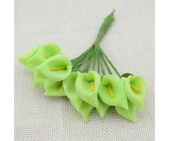 Kunstlilled vahtkummist - kallad 25mm, 12 tk, green