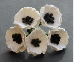 Paberlilled mooruspuu paberist (mulberry) - moonid 5 tk - valge