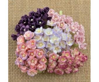 Paberlilled mooruspuu paberist (mulberry) - kirsiõied 100 tk, lillad
