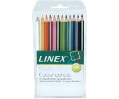 Värvipliiatsid, tugevad, kolmetahulised - 12 värvi - Linex