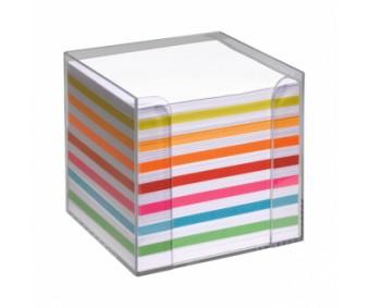 Märkmepaber karbis 9x9cm, 700 lehte - värviline + valge