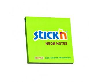 Märkmepaber Stick'n 76x76mm, 100 l - neoonroheline