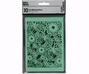 Pitslõikega kartong 10.5x15 cm, 10 lehte - lilleõied ja liblikad, helesinine