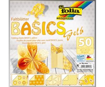 Origamipaber Folia BASICS 15x15cm - kollane