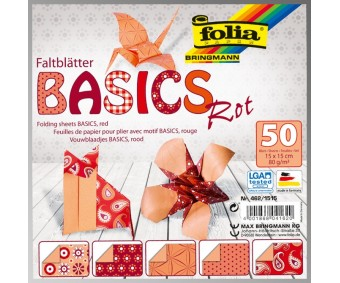 Origamipaber Folia BASICS 15x15cm - punane