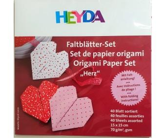Origami paber Heyda 15x15cm, 40 lehte - armastus