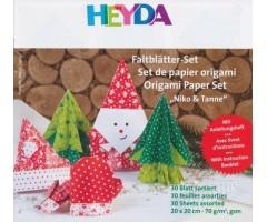 Origamipaber Heyda 15x15cm, 30 lehte - jõulud