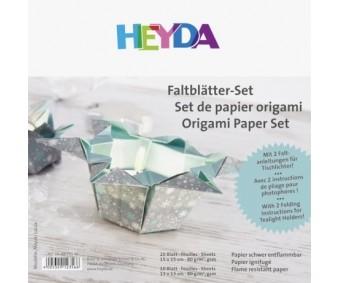 Origamipaber Heyda 15x15cm, 30 lehte - jõulud, hõbedane