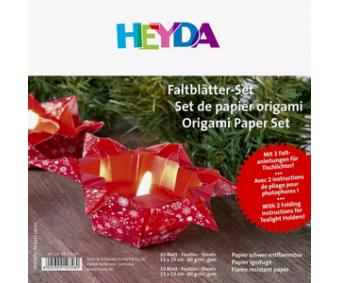 Origamipaber Heyda 15x15cm, 30 lehte - jõulud, punane