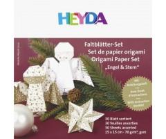 Origamipaber Heyda 15x15cm, 30 lehte - jõulud, kuldne