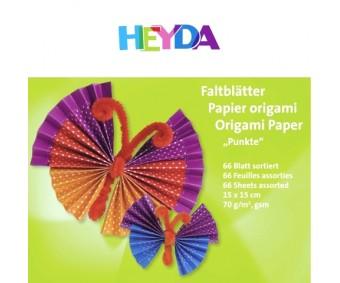 Origamipaber Heyda 15x15cm, 66 lehte - täpid