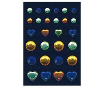 3D kleepsud Glam Rocks - kivikesed, sinine/kollane/roheline