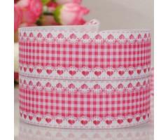 Pael mustriga, 22mm x 1m - roosad ruudud ja südamed