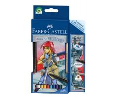 Akvarellpliiatsid Faber-Castell Manga Art Fantasy - 8 värvi + tindipliiats + harilik pliiats + pintsel