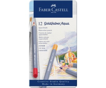 Akvarellpliiatsid Faber-Castell Goldfaber Aqua - 12 värvi