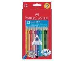 Värvipliiatsid Faber-Castell Jumbo Grip - 12 värvi + teritaja
