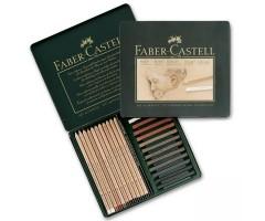 Pliiatsite ja pastellkriitide komplekt Faber-Castell Pitt Monochrome - 25 osa