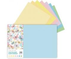 Värviline kartong, pastelltoonid, 200g/m², 7 lehte - A3