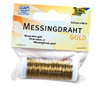 Messingtraat Folia 0.3mm x 80m - kuldne
