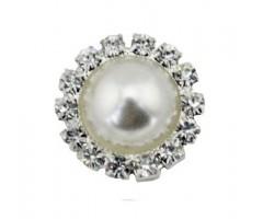 Kaunistus pärli ja kivikestega - ring, 15mm