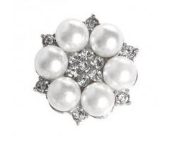 Kaunistus pärlite ja kivikestega - lill, 20mm