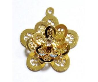 Filigraan 3D lill - kuld, 25mm