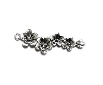 Filigraan lilled - hõbe, 56x17mm