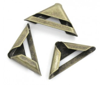 Metallist nurgad (karbile, albumile) 4tk - pronks, 17x17x3mm