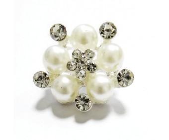 Kaunistus pärlite ja kivikestega - lill, 21mm