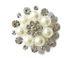 Kaunistus pärlite ja kivikestega - lill, 30mm