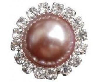 Kaunistus pärli ja kivikestega - ring, 15mm, roosa