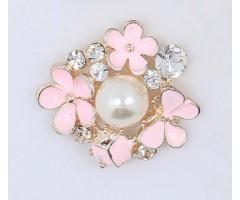 Kaunistus pärli ja kivikestega - roosad lilled, 22x24mm