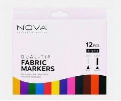 Tekstiilimarkerite komplekt Nova kahe otsaga - 12 värvi