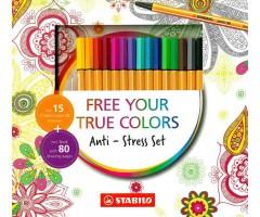 Värvimiskomplekt Stabilo - 15 Point 88 tindipliiatsit + värviraamat
