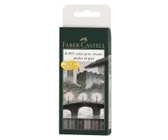 Pintsel-pliiatsite komplekt Faber-Castell Pitt - hallid toonid, 6 tk