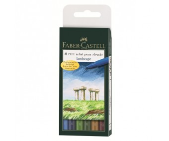 Pintsel-pliiatsite komplekt Faber-Castell Pitt - Landscape, 6 tk