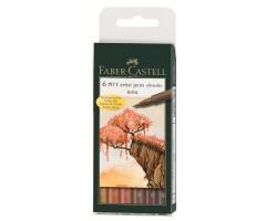 Pintsel-pliiatsite komplekt Faber-Castell Pitt - Terra, 6 tk