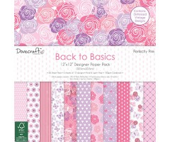 Motiivpaberid Dovecraft 30x30cm, 36 lehte - Back to Basics, Perfectly Pink