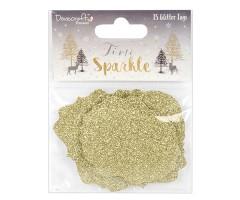 Kingipaki etiketid Time to Sparkle - kuldne glitter, 15 tk