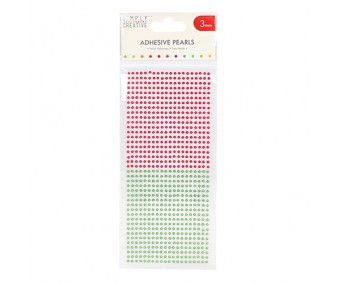 Kleepuvad poolpärlid Simply Creative - punane/roheline, 3mm