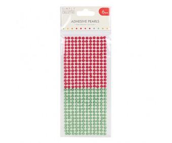 Kleepuvad poolpärlid Simply Creative - punane/roheline, 6mm