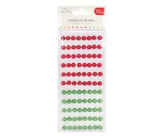 Kleepuvad poolpärlid Simply Creative - punane/roheline, 10mm