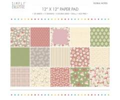 Motiivpaberite plokk Simply Creative 30x30cm, 20 lehte - Floral Notes
