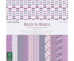 Motiivpaberid Dovecraft 30x30cm, 36 lehte - Back to Basics, Berry Blush