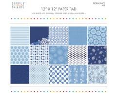 Motiivpaberite plokk Simply Creative 30x30cm, 20 lehte - Floral Lace, blue